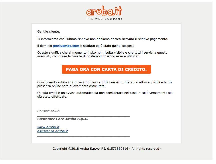 email aruba fake
