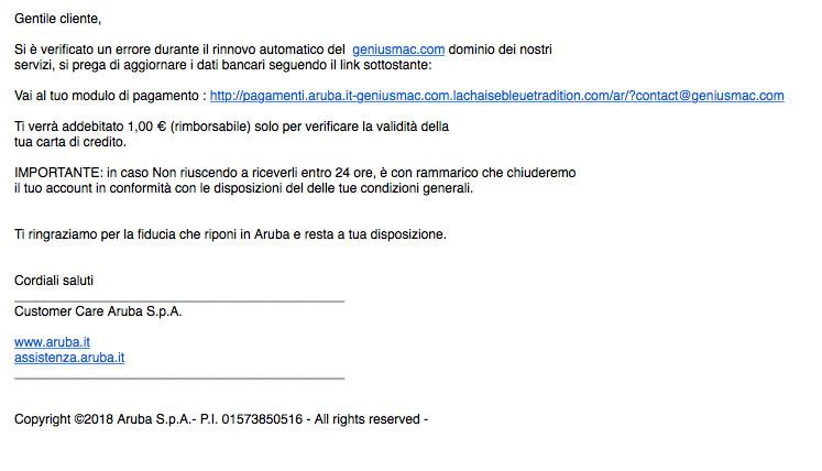 email pagamento aruba false