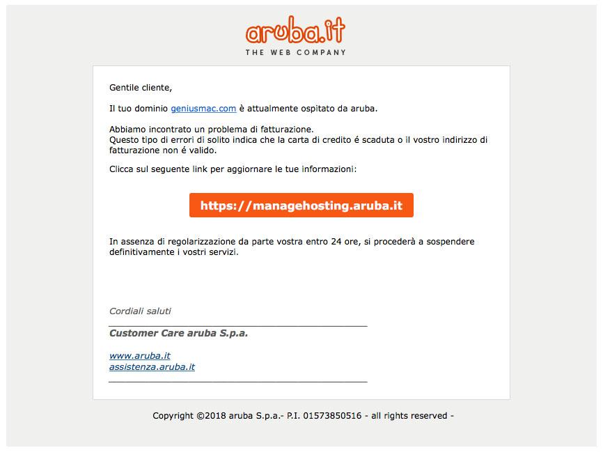 problema email fasulle aruba